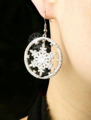Silver Plated Cubic Zirconia Stud Snow Flower Earrings