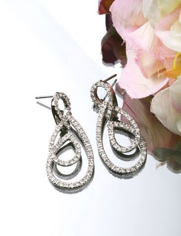 Silver Plated Cubic Zirconia Stud Double Twin Twister Earrings