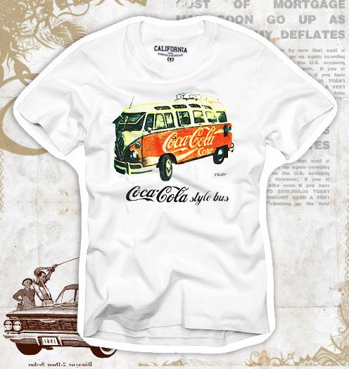 """Coca-Cola Style Bus"" Hollywood Vintage Style Men's T-shirt"