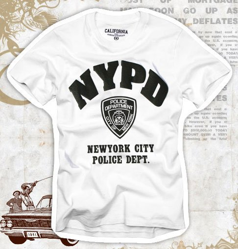 """NYPD"" Hollywood Vintage Style Men's T-shirt"