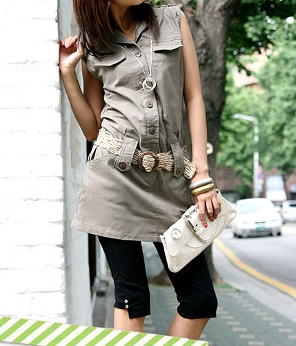 Nicole Sleek Basic & Simple Linen Shirt Dress with Belt