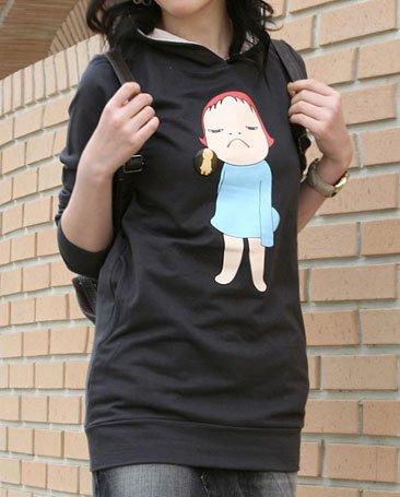 Artist Yoshitomo Nara's Artwork Hood T-shirt for Women