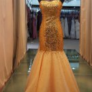 Sexy tight-fitting gold sequined elegant evening dresses