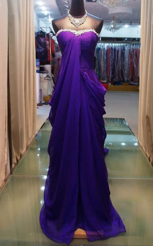 2012 new purple strapless elegant evening dresses