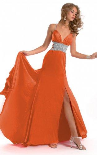 Orange Floor-length Spaghetti Straps Dresses