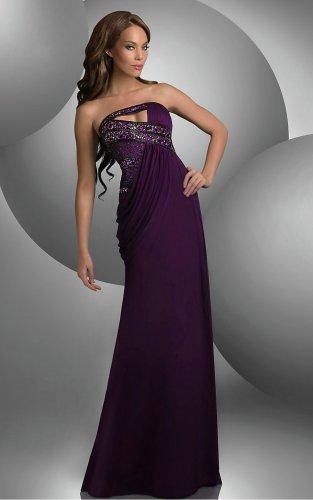 Purple Sheath Floor-length Strapless Dress