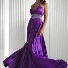 Charming Empire Halter Charmeuse Long Evening Dresses