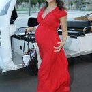 maternity -red gathered maternity evening dresses