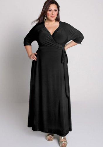 plus size evening dress Celebration Wrap Dress in Black
