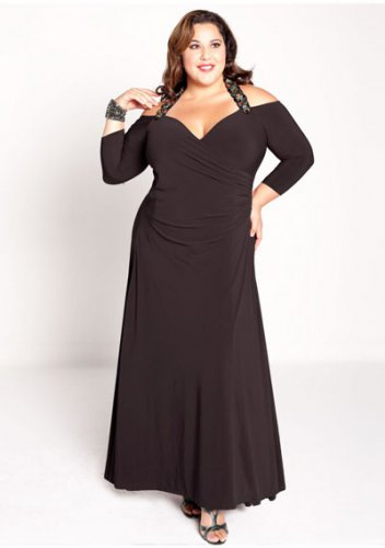 plus size evening dress Gabrielle Gown in Black