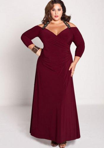 plus size evening dress Gabrielle Gown in Burgundy