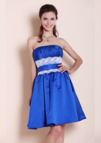 A-line Strapless Knee-length Satin Lace Short Prom Dresses