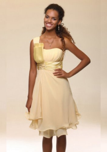 A-line One Shoulder Knee-length  Short Prom Dresses