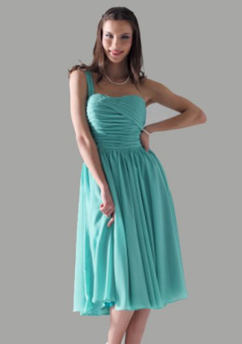 A-line One Shoulder Chiffon Knee-length Short Prom Dresses