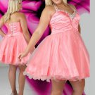 Lace Sweetheart Halter Short Beaded Water Melon Plus Size Cocktail Dresses