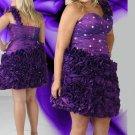 Ruffles Short One Shoulder  Short Crystal Purple Plus Size Cocktail Dresses