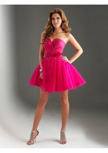 Taffeta and Tulle Strapless Notched Mini A-Line 2012 Short Cocktail Dresses