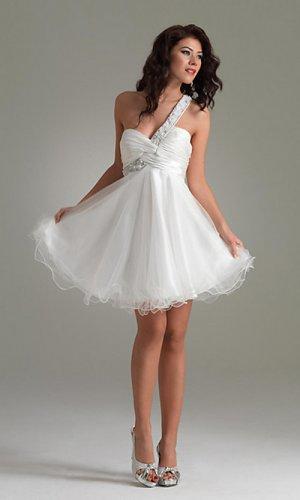 A-Line One-Shoulder Short/Mini Short Cocktail Dresses