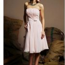 A-Line  Strapless Knee-Length Chiffon Charmeuse Short Cocktail Dresses