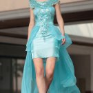 Party Queen Blue Hi-Lo Tulle Party Dresses For Girls