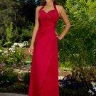 A-Line/Princess Halter Floor-Length Satin Bridesmaid Dresses