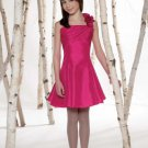 Taffeta ruffle one-shoulder neckline flower girl dresses