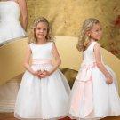 Ball gown Strapless Organza Tea-length Satin flower girl dresses