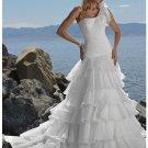 A-line One Shoulder Beach Organza Wedding Dresses