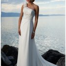 Empire One Shoulder Beach Chiffon Wedding Dresses