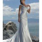A-line One Shoulder Strap Neckline Lace Beach Wedding Dresses