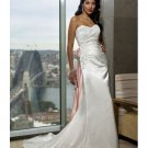 A-line Beach Wedding Gowns Strapless with Lace