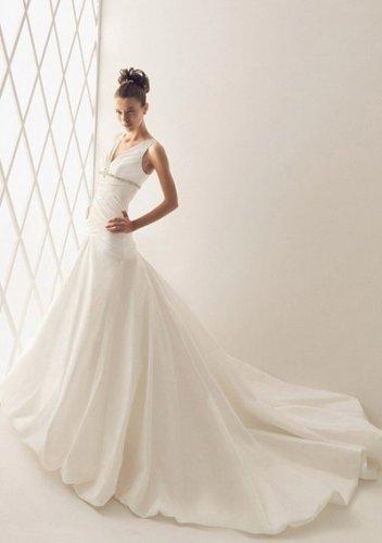 A-Line V-neck Chapel Train Organza Satin Bridal Dresses