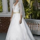 Empire V-neck Chapel Train Satin Bridal Dresses