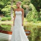 empire sweetheart chapel train satin tulle strapless wedding dresses