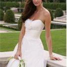 a-line/princess sweetheart chapel train satin tulle strapless wedding dresses