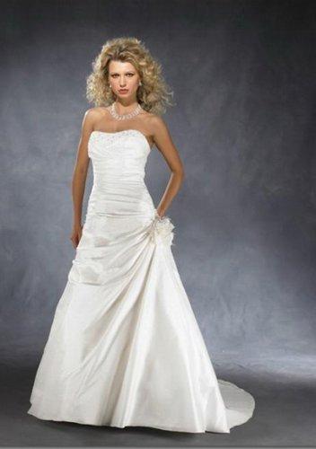a-line/princess sweetheart chapel train taffeta strapless wedding dresses