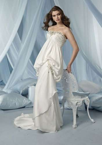 mermaid sweetheart chapel train charmeuse strapless wedding dresses