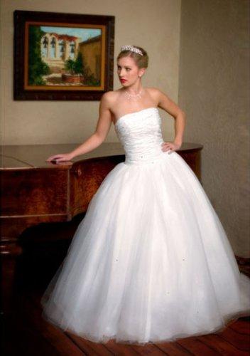 ball-gown floor-length taffeta tulle strapless wedding dresses