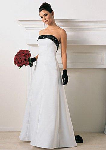 empire v-neck chapel train satin strapless wedding dresses