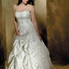 a-line/princess sweetheart chapel train taffeta strapless wedding dresses with embroidery