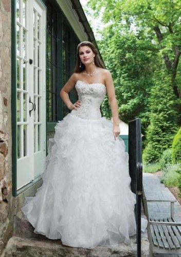 ball-gown sweetheart sweep train organza satin strapless wedding dresses