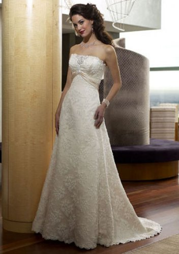 a-line/princess chapel train satin lace strapless wedding dresses with lace sashes