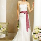 a-line/princess sweetheart chapel train satin tulle strapless wedding dresses lace sashes