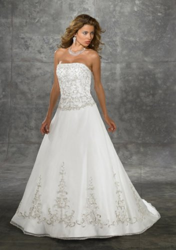 a-line/princess chapel train organza satin strapless wedding dresses with embroidery