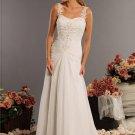 A-Line/Princess Sweetheart Chapel Train Chiffon Charmeuse Wedding Dresses(002000061)
