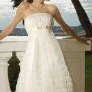 Short Strapless Organza Cheap Wedding Dresses