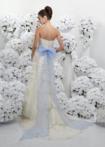 Ivory and Turquoise Sash Strapless Design colored wedding dresses