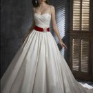 Princess Spaghetti Straps With Red Sash colored wedding dresses