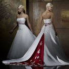 Strapless Embroider Red And White colored wedding dresses