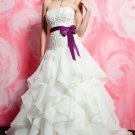 Strapless Embroider With colored wedding dresses